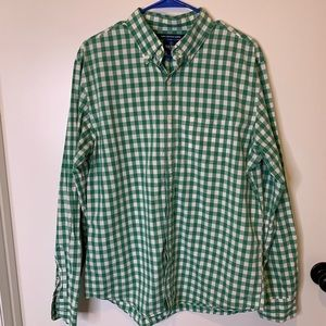 Old navy green and white checked button down L